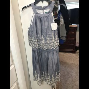 NWT chambray embroidered dress